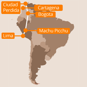 Colombia and Peru Holiday Map